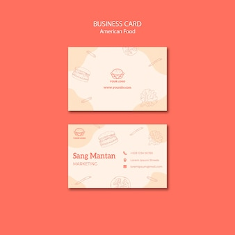 Business card style american food
