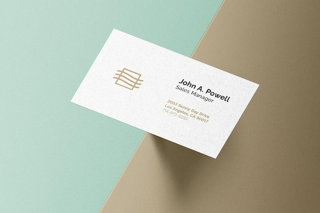 Business card on surface edge mockup
