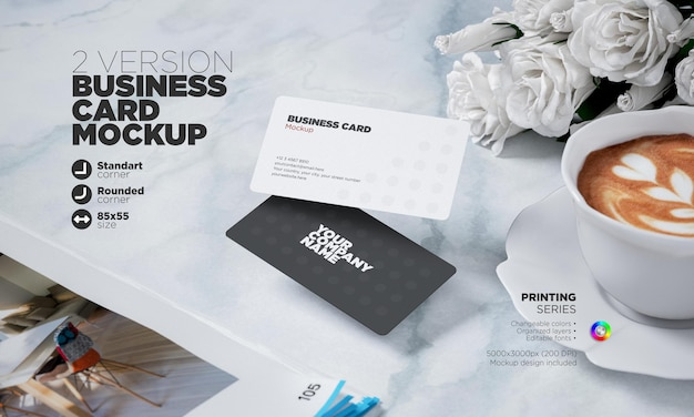 Business card template 85x55mm in 3d rendering