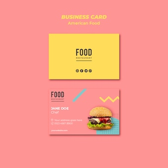 Business card template for american food with burger