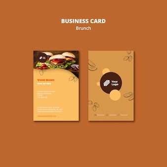 Business card template for brunch