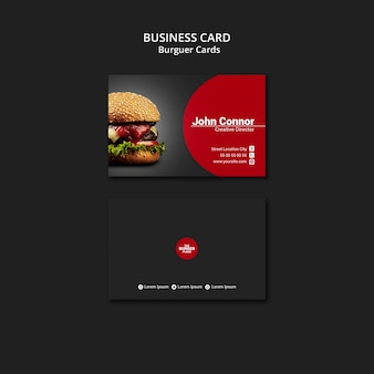 Business card template for burger restaurant
