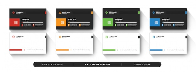 Business card template color variation