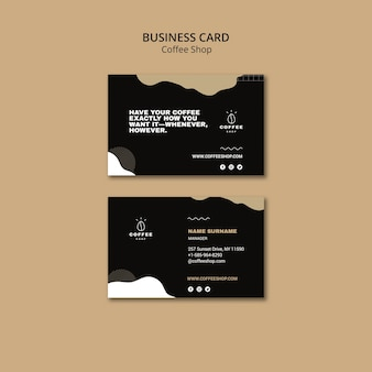 Business card template concept for coffee shop