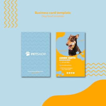 Business card template concept for pet shop