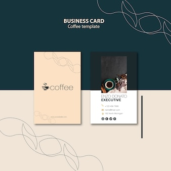 Business card template concept with coffee