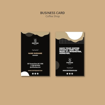 Business card template design for coffee shop