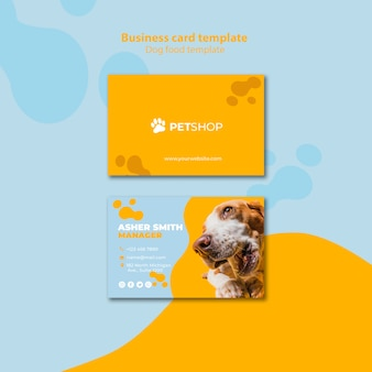 Business card template design for pet shop