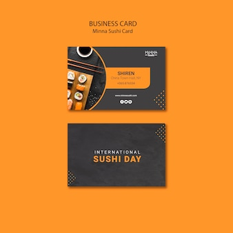 Business card template for international sushi day