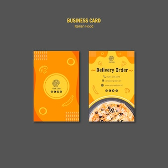 Business card template for italian food bistro