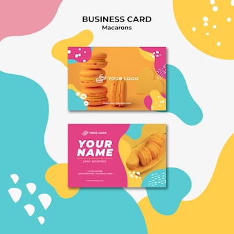 Business card template macarons confectionery