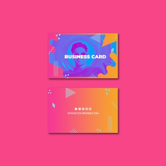 Business card template in memphis style with summer concept