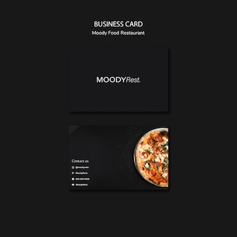 Business card template for moody food restaurant