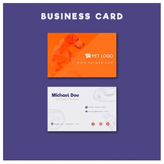 Business card template for pet care with dog