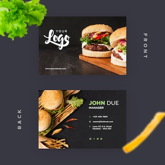 Business card template for restaurant with burgers Free Psd