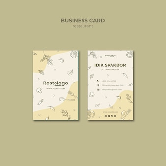 Business card template for restaurant