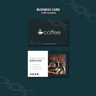 Business card template theme with coffee