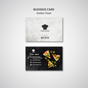 Business card template for traditional italian food restaurant