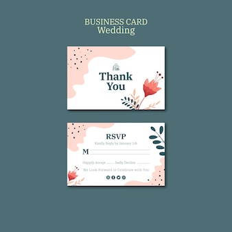 Business card template for wedding with flowers