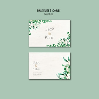 Business card template for wedding with leaves