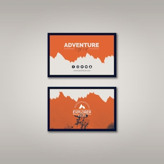 Business card template with adventure concept