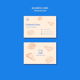 Business card template with american food concept