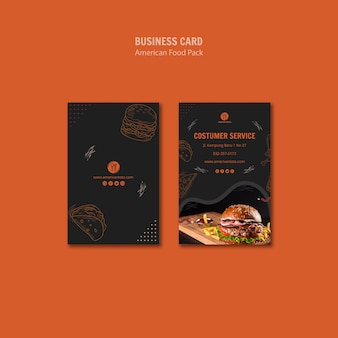 Business card template with american food design