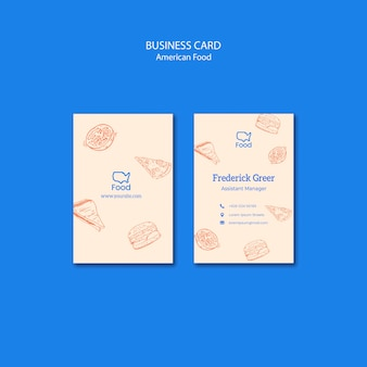 Business card template with american food