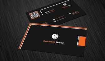 Business card template with black background