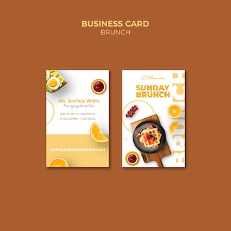 Business card template with brunch concept