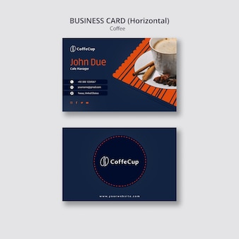 Business card template with coffee concept