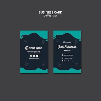 Business card template with coffee design