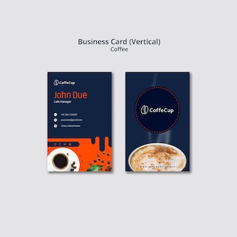 Business card template with coffee theme