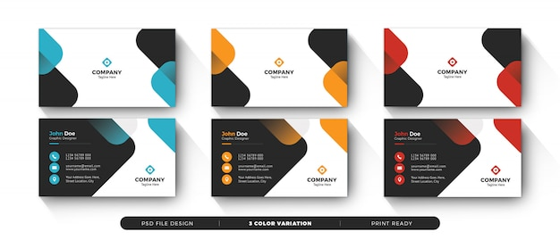 Business card template with color variation