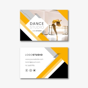 Business card template with dance studio