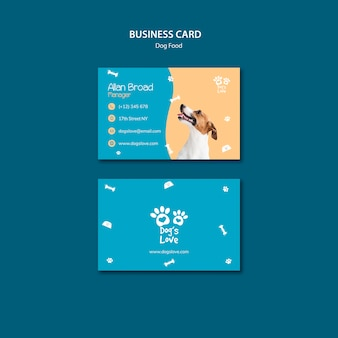 Business card template with dog food