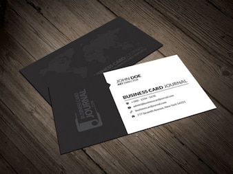 Business card template with dotted world map