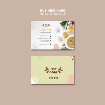 Business card template with healthy food