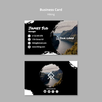 Business card template with hiking concept
