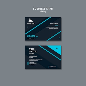 Business card template with hiking theme