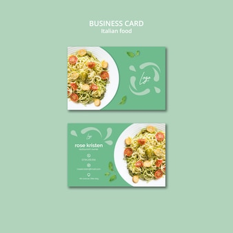 Business card template with italian food theme