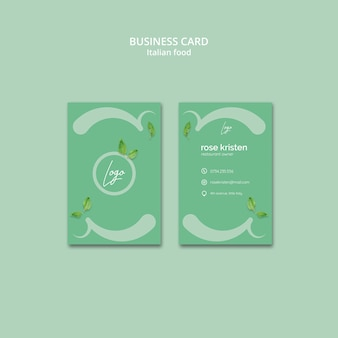 Business card template with italian food