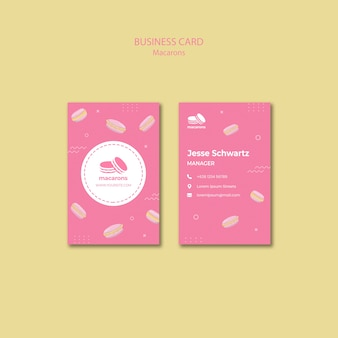Modello di biglietto da visita con macarons design