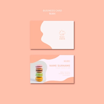 Business card template with macarons design
