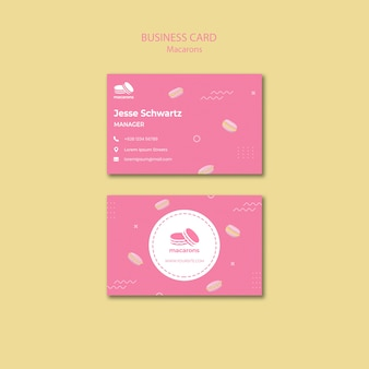 Business card template with macarons theme