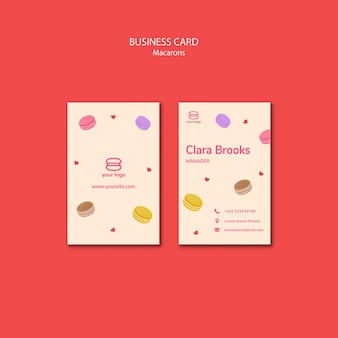 Business card template with macarons