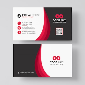 Business card template with red details