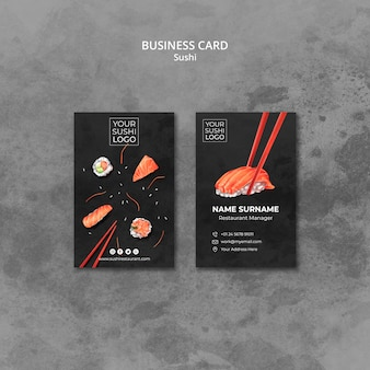 Business card template with sushi day theme