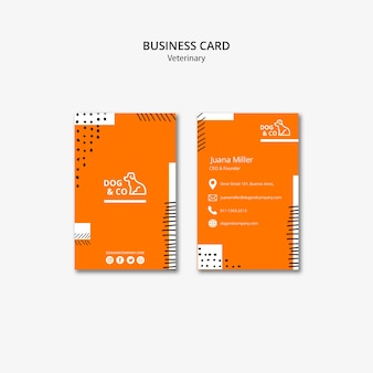 Business card template with veterinary design Free Psd