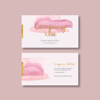 Business card template with watercolor brustrokes